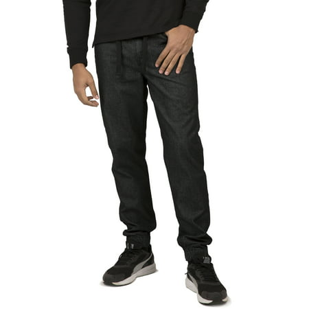 Vibes Gold Label Men's Black Denim Rinse Washed Jogger Jeans Drawstring Rib Waistband