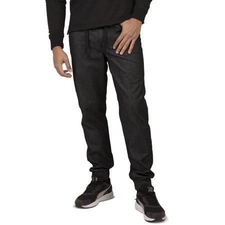 Vibes Gold Label Men's Black Denim Rinse Washed Jogger Jeans Drawstring Rib Waistband (Mens Denim Acid Blue Joggers)
