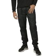 Vibes Gold Label Men's Black Denim Rinse Washed Jogger Jeans Drawstring Rib Waistband