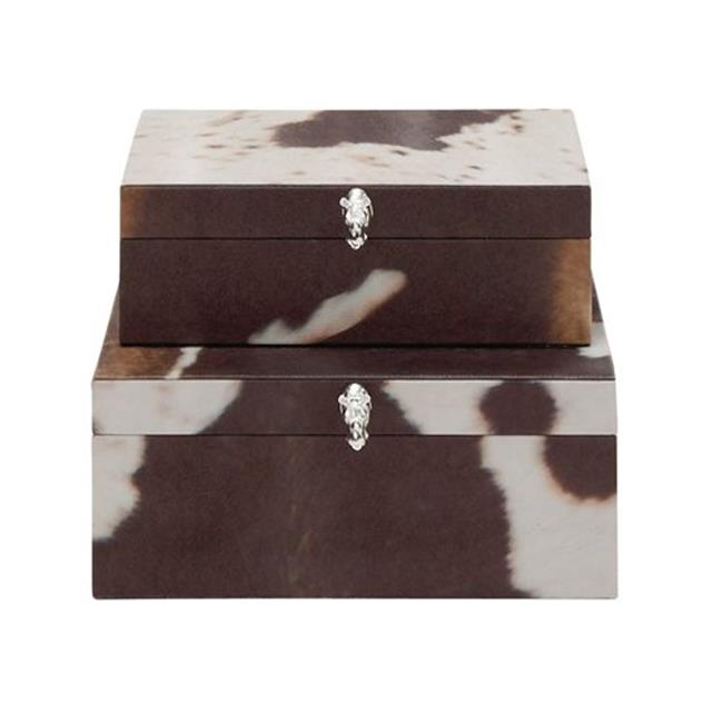 Benzara 70693 Wood PVC Leather Box, Set Of 2