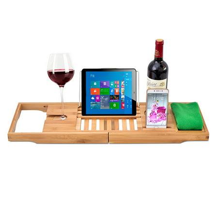Expandable Bathtub Rack Caddy Bamboo Wood Shelf Shower Book Table Tray Holder - image 6 of 9