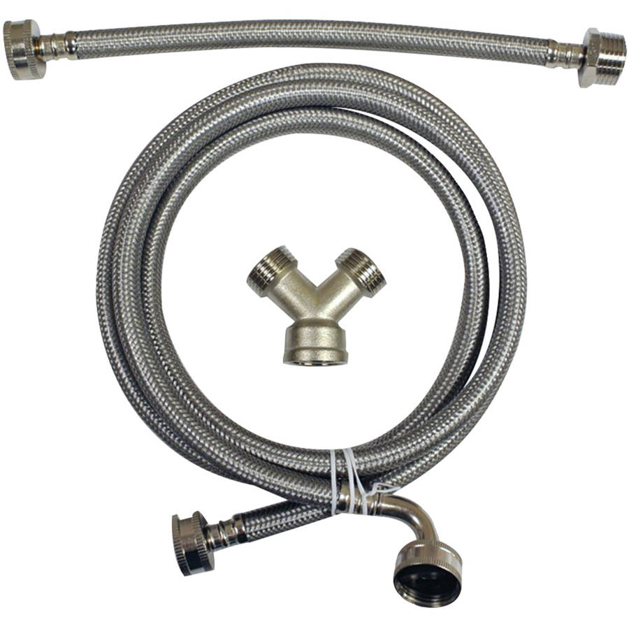 certified appliance wm48ssl2pk braided stainless steel washing machine hose with elbow 2 pack. Black Bedroom Furniture Sets. Home Design Ideas