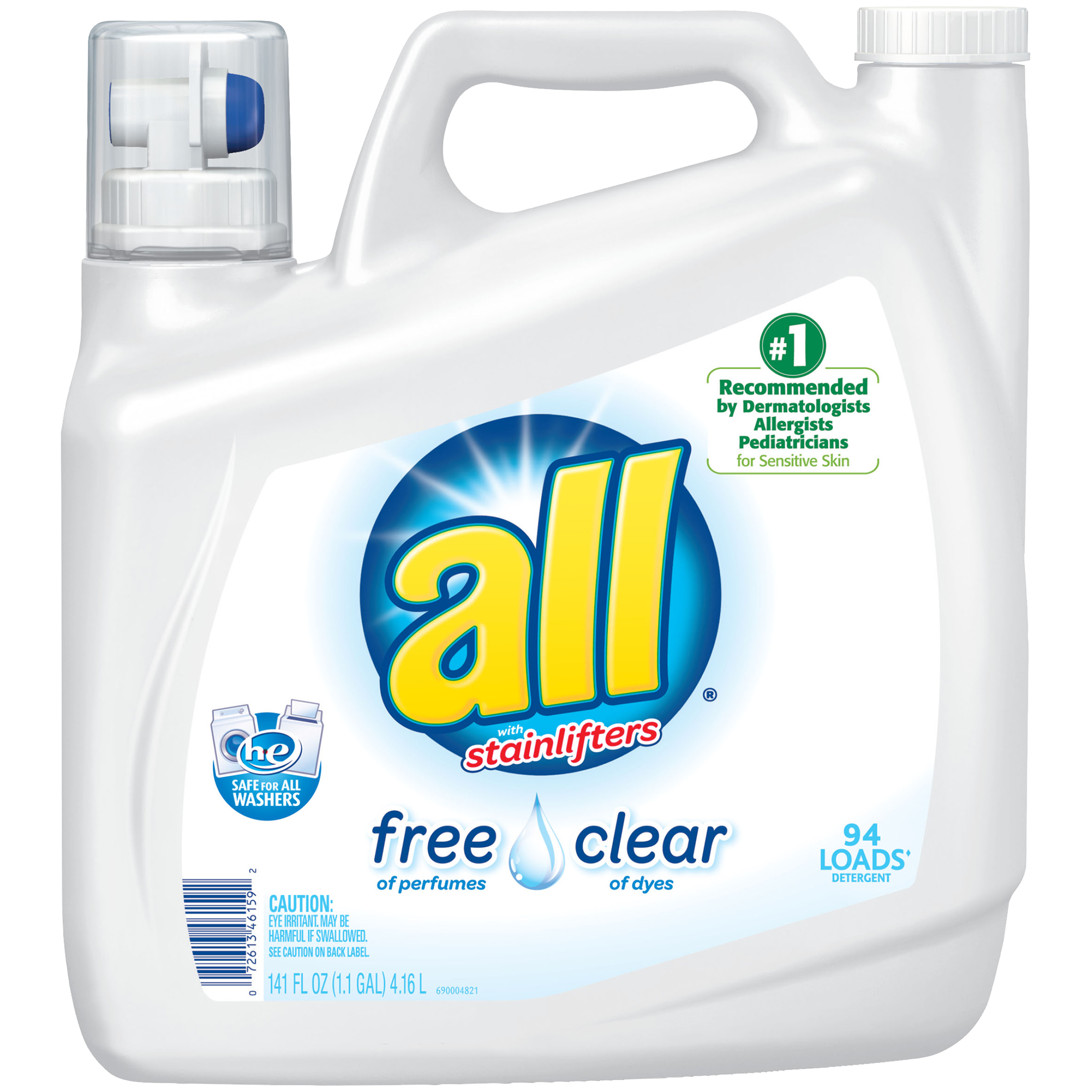 all Liquid Laundry Detergent Free Clear for Sensitive Skin, 141 Oz, 94 Loads
