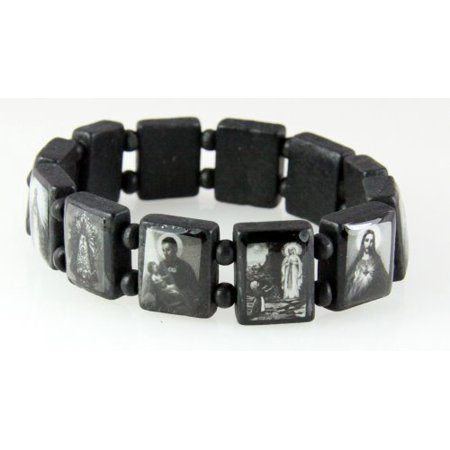 Black Wooden Block Bead Saints and Icons Celebrity Bracelet Stretch ...