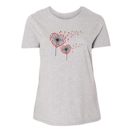 Valentines Day Heart Dandelion Shirt  Plus Size Womens Short Sleeve T-Shirt Top (Hearts Plus)