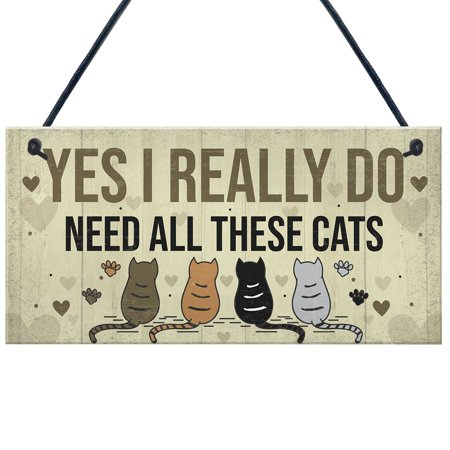 Tuscom Home Door Wooden Square Cat Hanging Sign Wooden Plaques Cat Wall Plaque