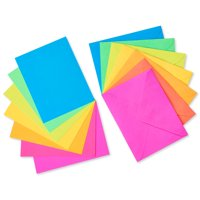American Greetings 100 Count Blank Note Cards and Colored Envelopes, Neon Rainbow