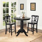 Dorel Living Aubrey 3-Piece Counter-Height Dining Set, Black