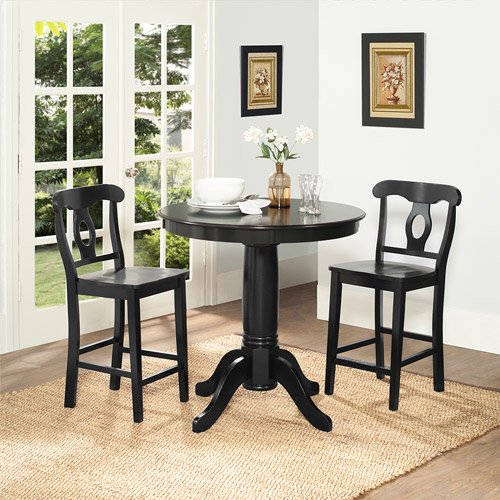 Dorel Home Aubrey 3-Piece Counter-Height Dining Set, Black