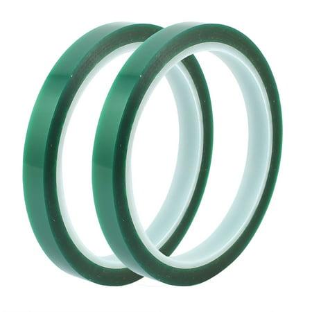 Green Self Adhesive (2Pcs 10mm Width 33M Length Green PET Self Adhesive Tape High Temp Heat Resistant )