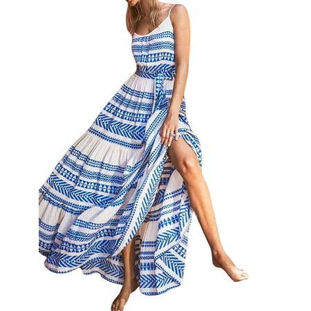 Plus Size Summer Boho Dress Women Floral Printed Dresses Sleeveless Beach Sundress Strappy V Neck Evening Party Bohemian Vestidos (Bohemian Sundress Dress)