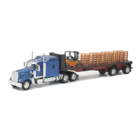 Kenworth Flatbed W/ Forklift and Pallet by New Ray