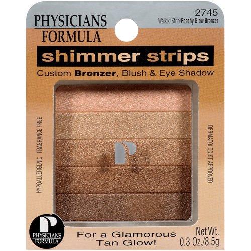 Physicians Formula Shimmer Strips Bronzer, Blush And Eye Shadow, Waikiki Strip / Peachy Glow Bronzer - 0.3 Oz