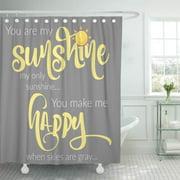 ATABIE You are My Sunshine Yellow on Gray Chevron Shower Curtain 66x72 inch