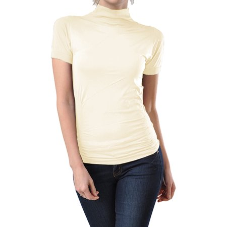 8b1e904b201 Kuda Moda - Women Seamless Short Sleeve Mock Neck Turtleneck Blouse Top  Stretch Tee Shirts - Walmart.com