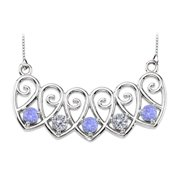 Fine Jewelry Vault UBPDS85613W14DTZ5 14K White Gold Tanzanites and Diamonds Mothers Necklace Mounting