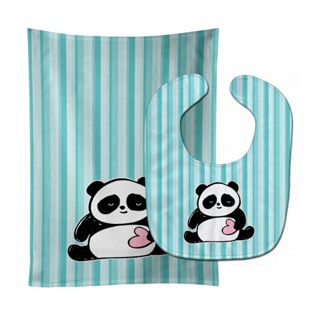 Panda Bear Love Baby Bib & Burp Cloth BB7040STBU