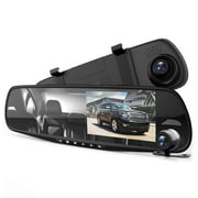 PYLE PLCMDVR49 - HD 1080p DVR Rearview Mirror Dash Cam Kit - Dual Camera Vehicle Video Recording System with Waterproof Backup Cam, 4.3'' -inch Display