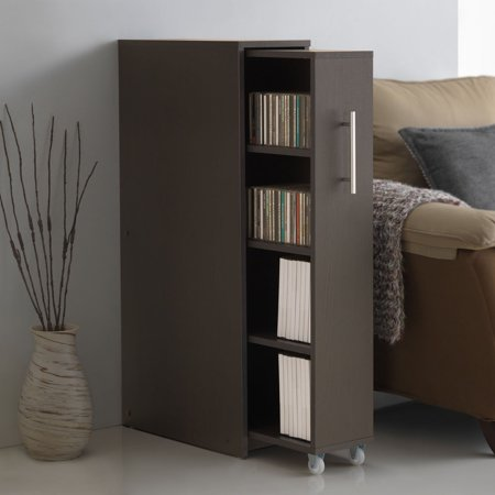 Mobile Bookcase Cabinet (Baxton Studio Lindo Dark Brown Wood Bookcase with 1-Door Shelving Cabinet)