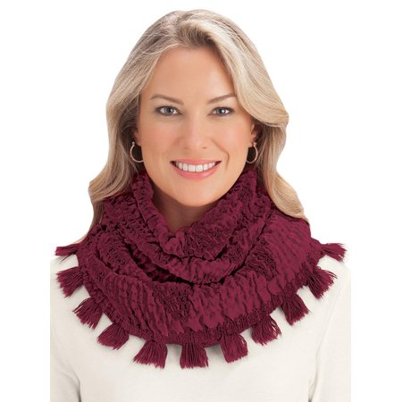 Plush Woven Infinity Scarf with Pom Pom Fringe, One Size, Red (Woven Fringe Scarf)