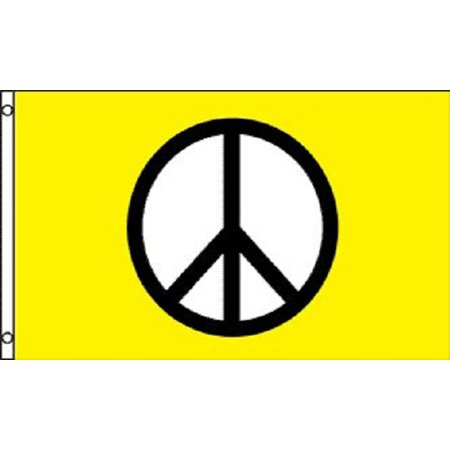 Peace Sign Flag Peace Symbol Hippie Banner Yellow Party Pennant