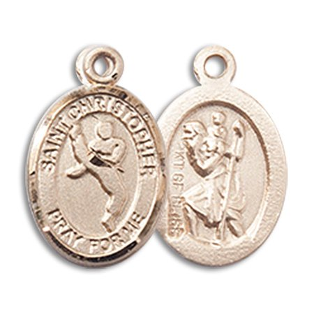 - 14kt Yellow Gold St. Christopher/Martial Arts Medal 1/2 x 1/4 inches