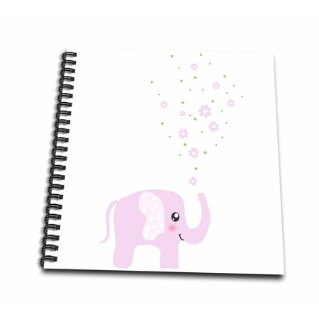 Flowers Baby Nursery (3dRose Cute pink elephant blowing flowers from trunk - girly kawaii kids nursery animal baby girl cartoon - Mini Notepad, 4 by)