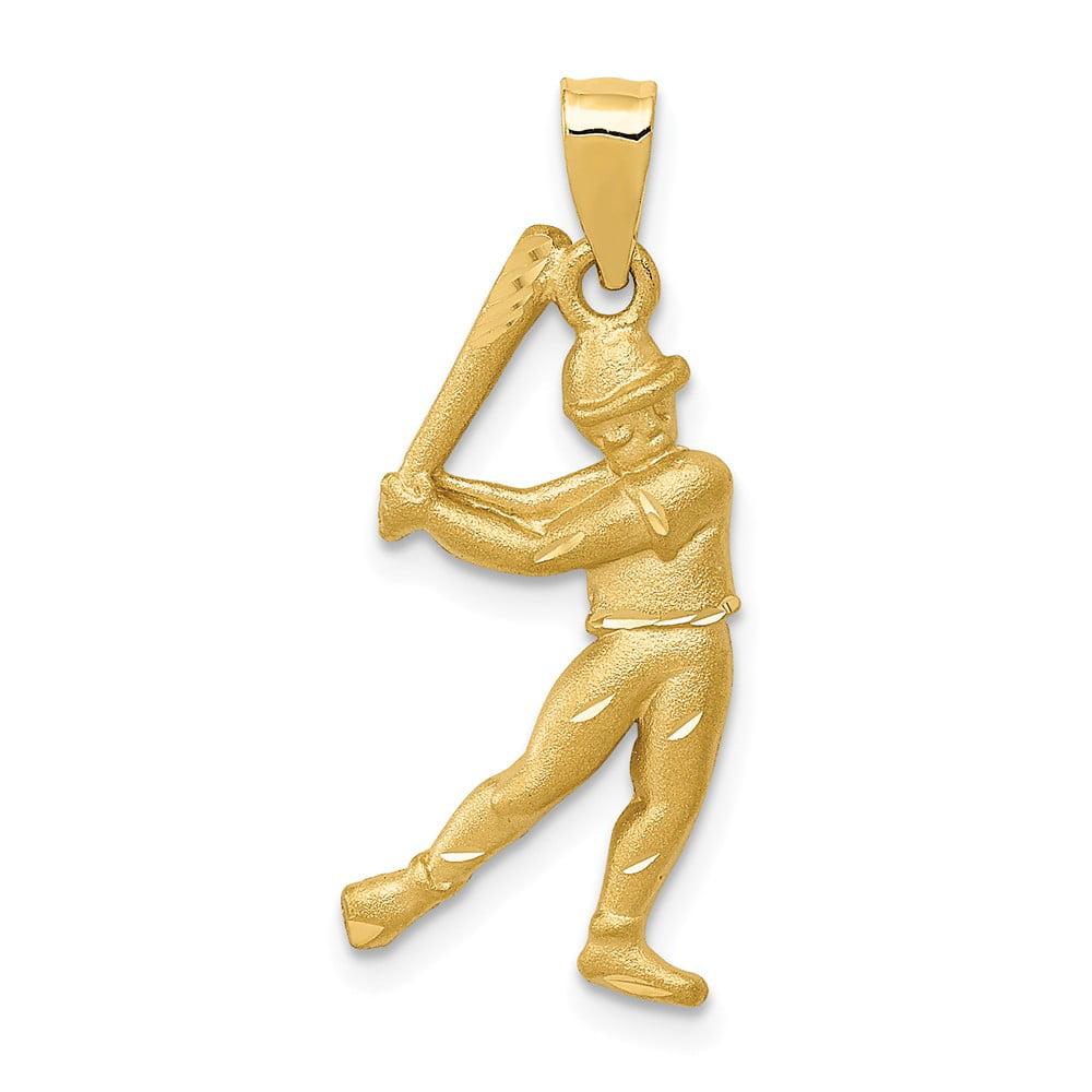 14k Yellow Gold Satin & Diamond Cut Baseball Player Pendant