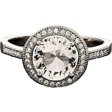 Swarovski Elements 14kt White Gold-Plated Heart-Cut April White Topaz Ring