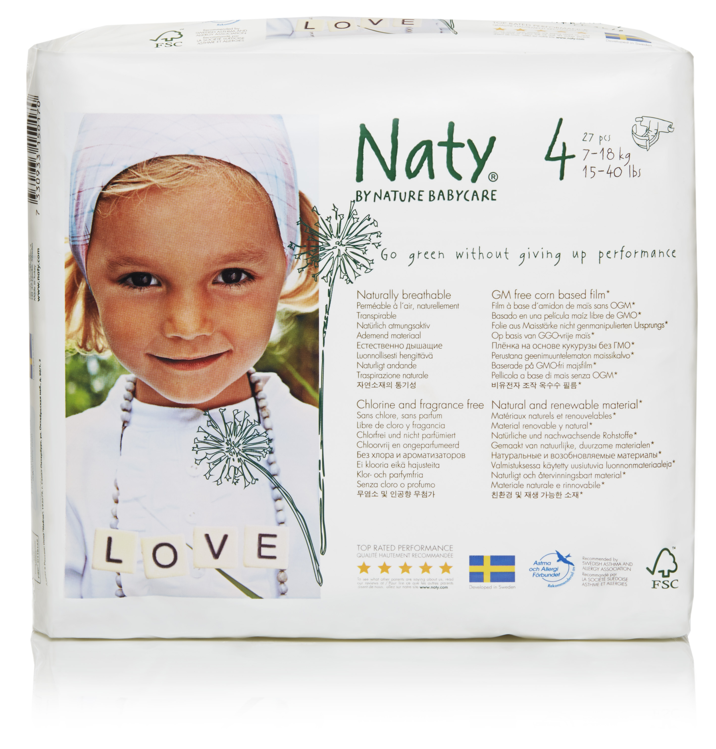 Naty, ECO By Naty Diapers, Size 4, 27 Diapers