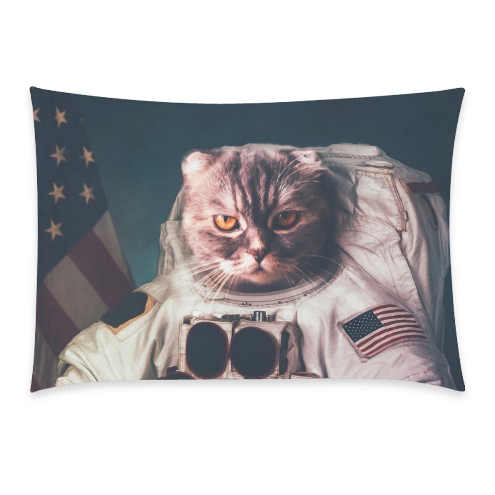 ZKGK Beautiful Cat Astronaut Vintage American Flag Star Pillowcase for Couch Bed 20 x 30 Inches,the Stars and the Stripes Pillow Cover Case Shams Decorative