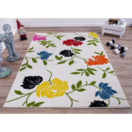Ladole Rugs Cream And Green Made In Europe Colourful