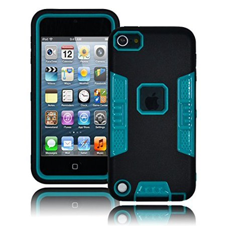 - For Apple iPod Touch 5, Bastex Heavy Duty Robotic Design Hybrid Black Rubberized Case with Teal Hard Insert for Apple iTouch 5