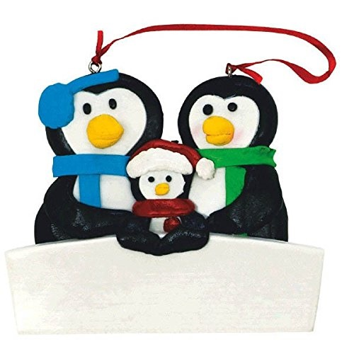 "Amscan Festive Christmas Family of Three Penguin Personalized Wall Decoration, 3 1/2"" x 3"" x 5/8"", Multicolor"