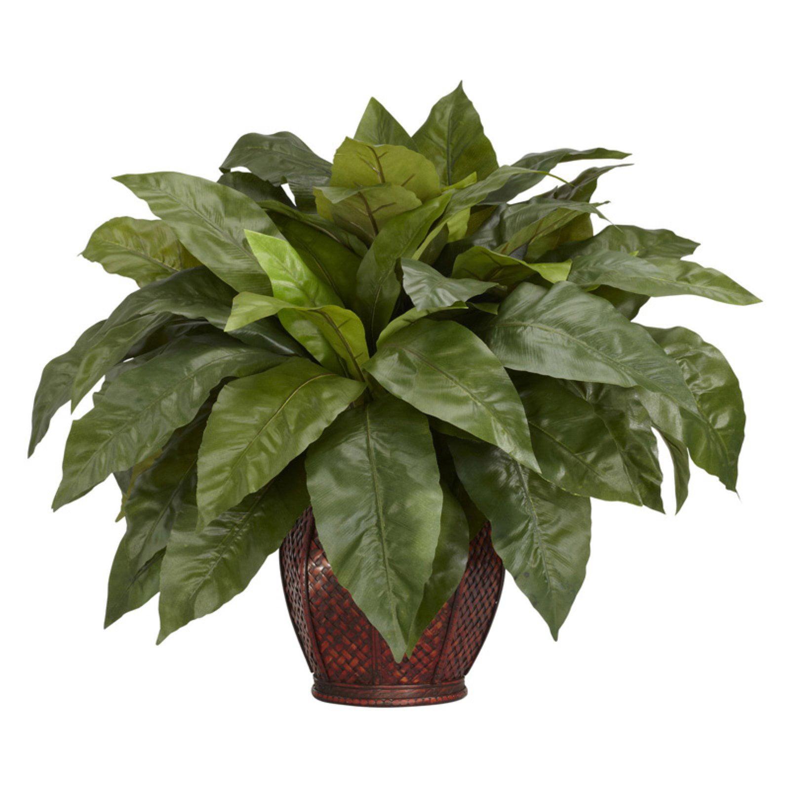 Birdsnest Fern with Decorative Vase Silk Plant