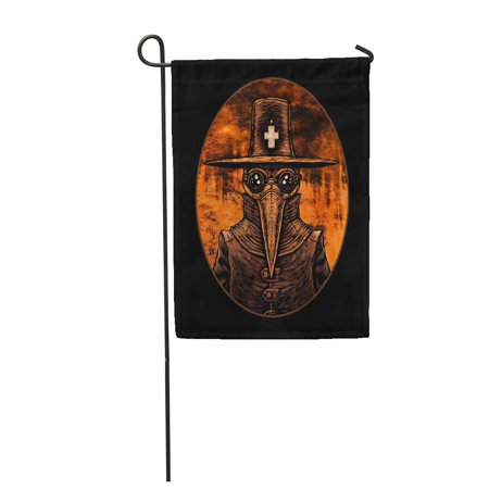 LADDKE Bubonic Plague Doctor Graphic on Fire London Old Abstract Angel Beak Bird Garden Flag Decorative Flag House Banner 12x18 inch