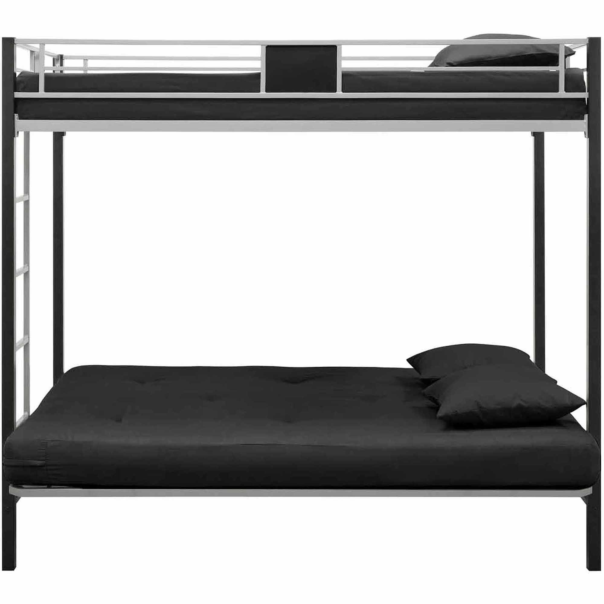 Baby jasper bed brackets - Dorel Dhp Silver Screen Twin Over Futon Metal Bunk Bed Silver Black Walmart Com