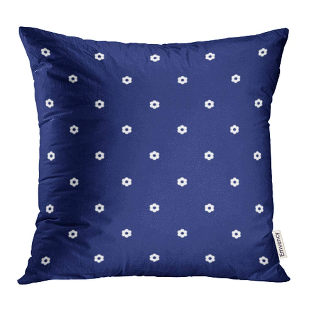 USART Abstract Navy Blue Little White Flowers Beautiful Beauty Blossom Color Pillowcase Cushion Cases 16x16 inch
