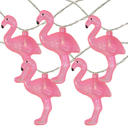 10 Battery Operated Pink Flamingo Summer LED String Lights - 4.5ft Clear Wire - Flamenco String Set