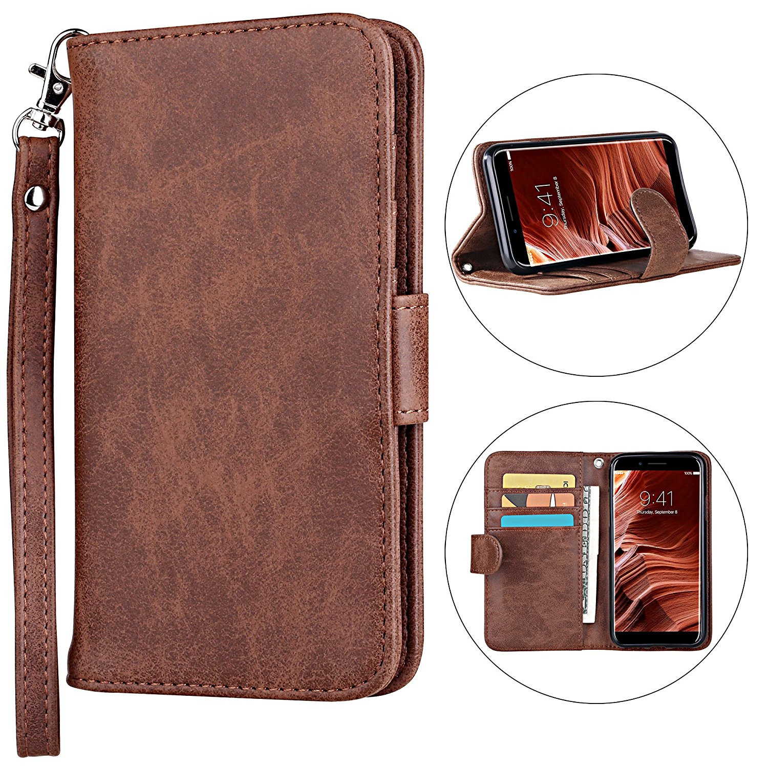 iPhone X Case [Cards Slot Pocket], ELV iPhone X Flip Case [PU Leather] Slim Folio Wallet Purse Protective Magnetic-Closer [Pull tab] Case Cover for Apple iPhone X - FTS ROSE GOLD