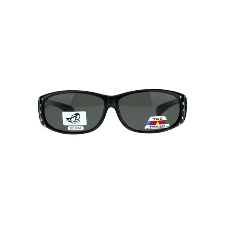 Polarized Womens Rhinestone Bling Fit Over Rectangular 60mm Sunglasses Slate Black
