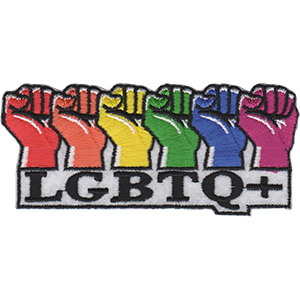 """Rainbow Fists - LGBTQ Artwork Embroidered Iron On Patches, 1.7 x 4"""" Sew On Patch"""