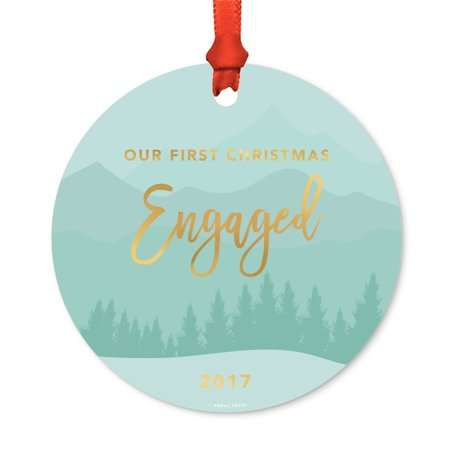 Metal Christmas Ornament, Our First Christmas Engaged 2017, Winter Wonderland Forest, Includes Ribbon and Gift Bag