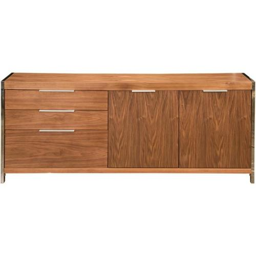 Aurelle Home Anders Walnut Storage Sideboard Cabinet by