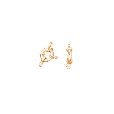 11mm 16K Gold-Finished Nautical Spring Ring Clasp With Double Loops Sold per pkg of 6