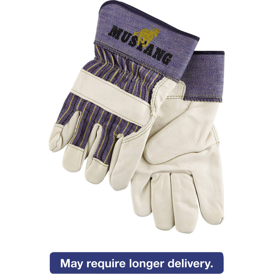 Memphis Mustang Leather Palm Gloves, Blue/Cream, Extra Large, Dozen