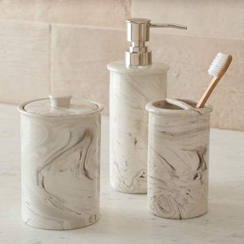 Better Homes and Gardens Faux Marble 3-Piece Bath Accessory Set by
