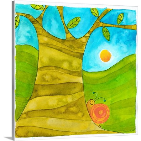 Great BIG Canvas Pablo Esteban Premium Thick-Wrap Canvas entitled Snail on a Tree