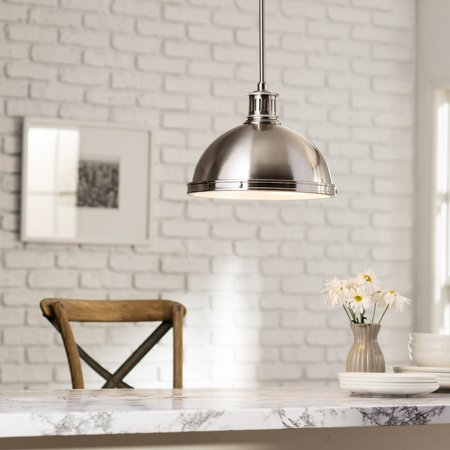 Sea Gull Lighting Pratt Street Metal 2 Light Brushed Nickel Pendant With Gl Diffuser