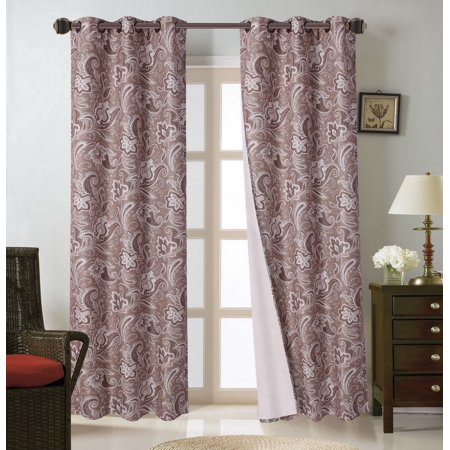 FLORAL#1  2pc Paisley Floral Blackout Lined Grommet Window Curtain Treatment Set, Two (2) Printed Room Darkening Panels 37